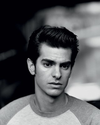 Andrew Garfield in black and white looking sad in i-D magazine