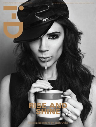 Victoria Beckham on the cover of i-D magazine drinking from a mug with a straw