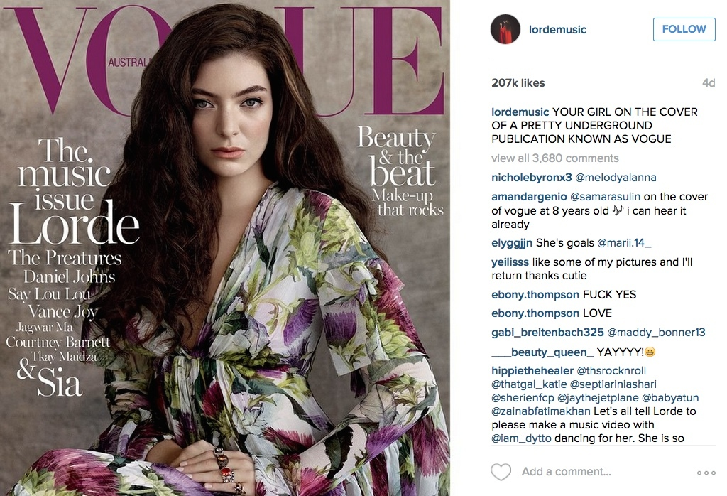 92e3d75c9 Vogue Australia's editor-in-chief, Edwina McCann, wrote in praise of Lorde  in her editor's letter saying,