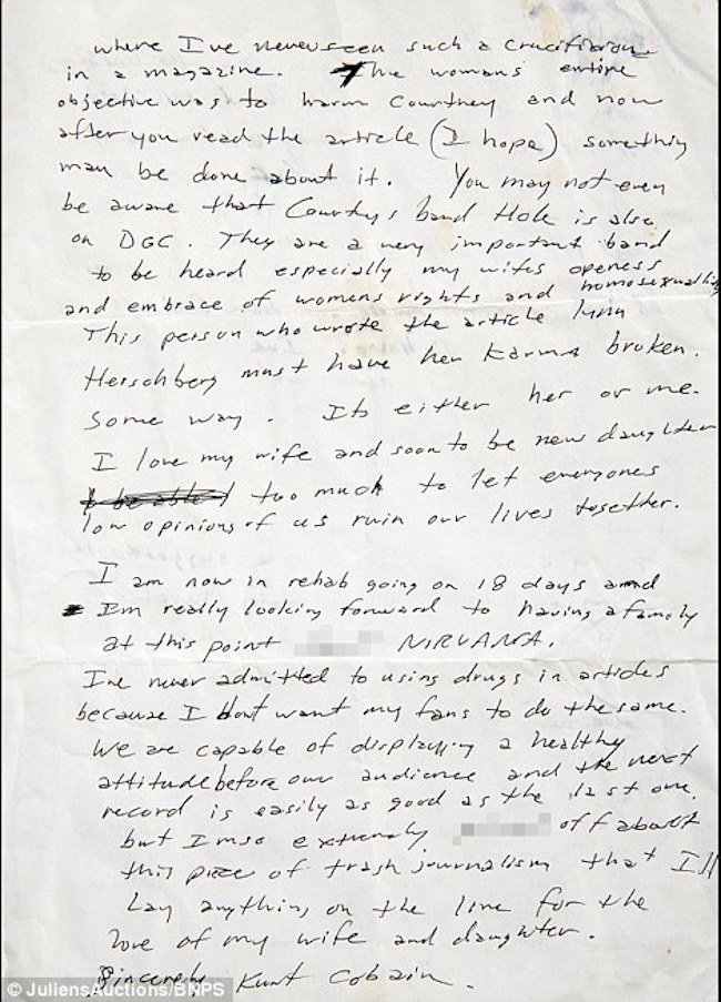 Read An Unearthed 1992 Letter From A Furious Kurt Cobain Threatening
