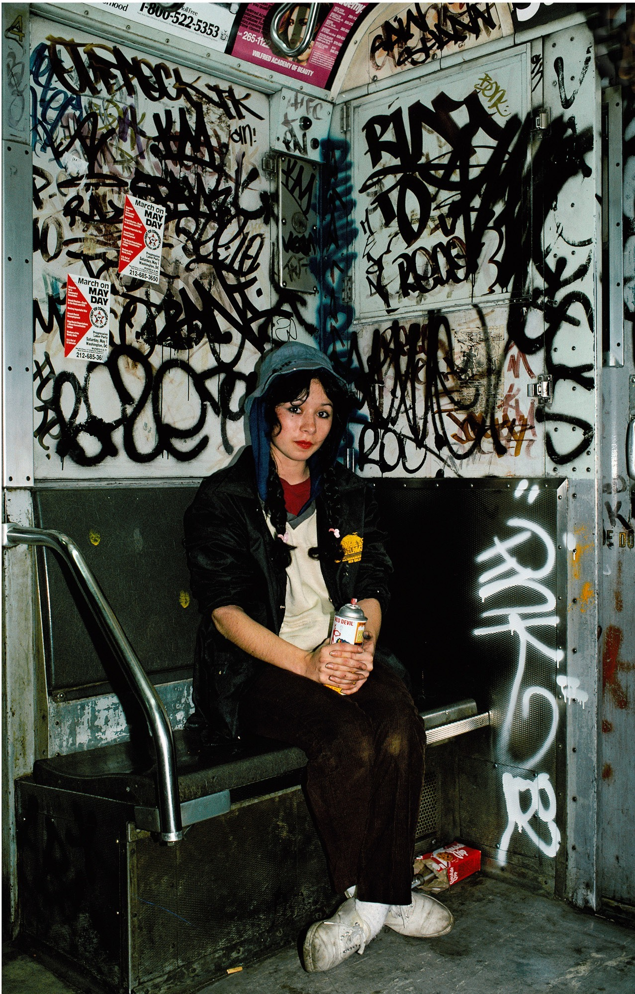Lady pink on train 1982 copyright marthacooper courtesy steven kasher gallery new york