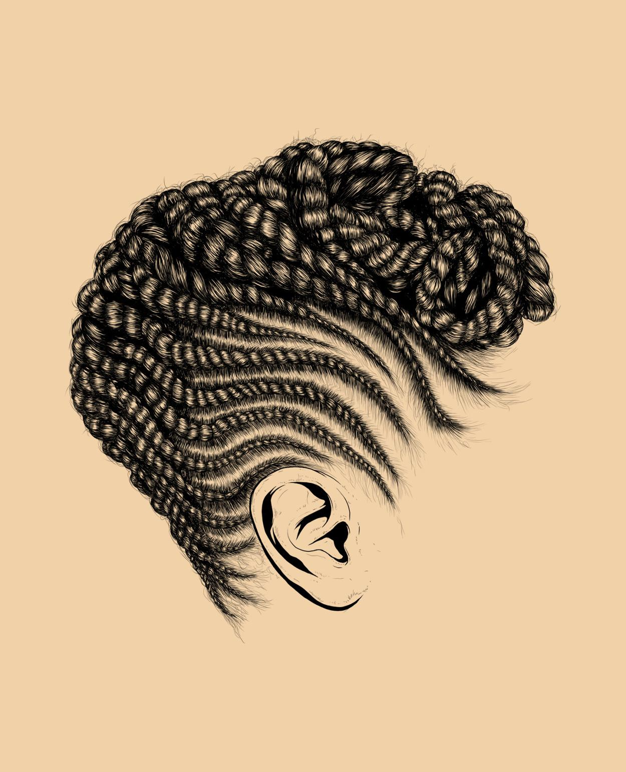 Wedding Hair Style Black Vector Art: These Intricate Illustrations Of Black Women's Hair