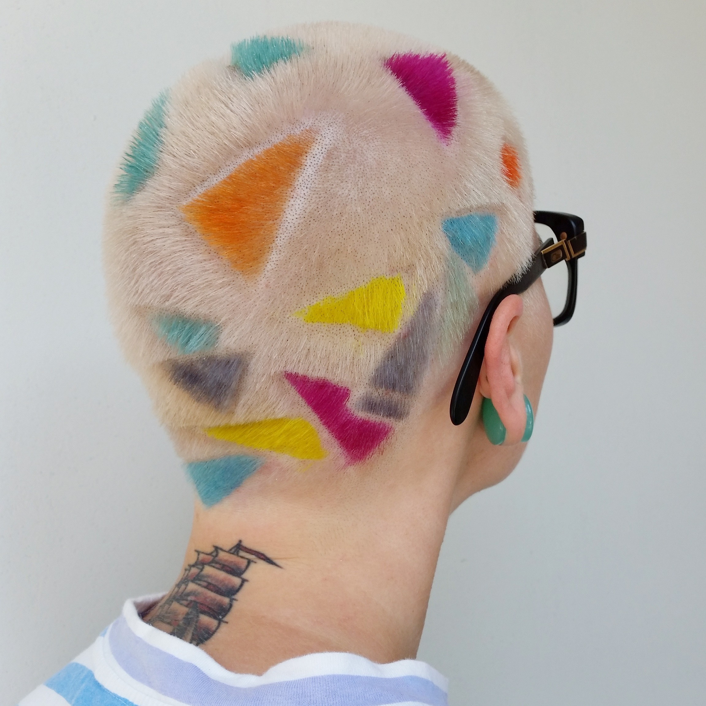 Geometric Buzz Cuts And Colorful Hair Tattoos Inspired By 90s Punk Culture I D