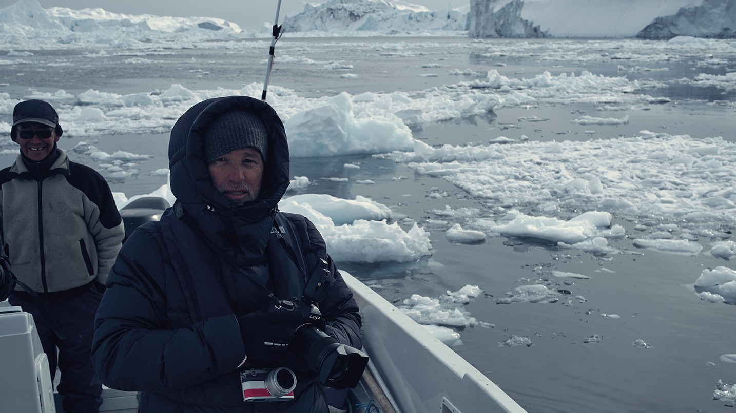 fabien baron heads for the icebergs with the help of leica and moncler
