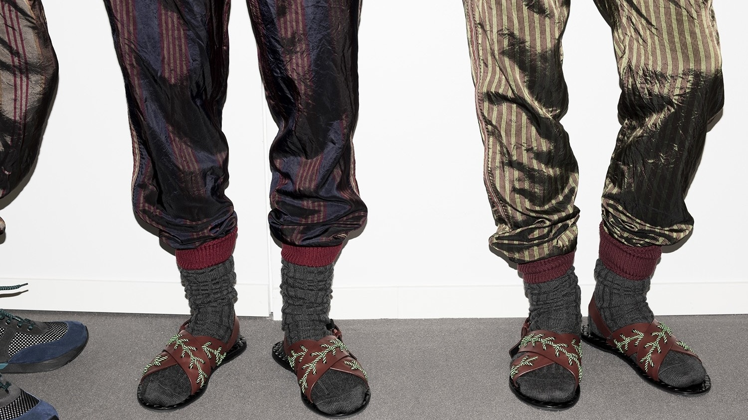 socks with sandals are officially a thing at milan fashion week