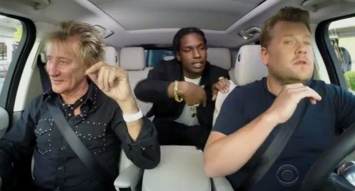 a$ap rocky and rod stewart rock out in a range rover
