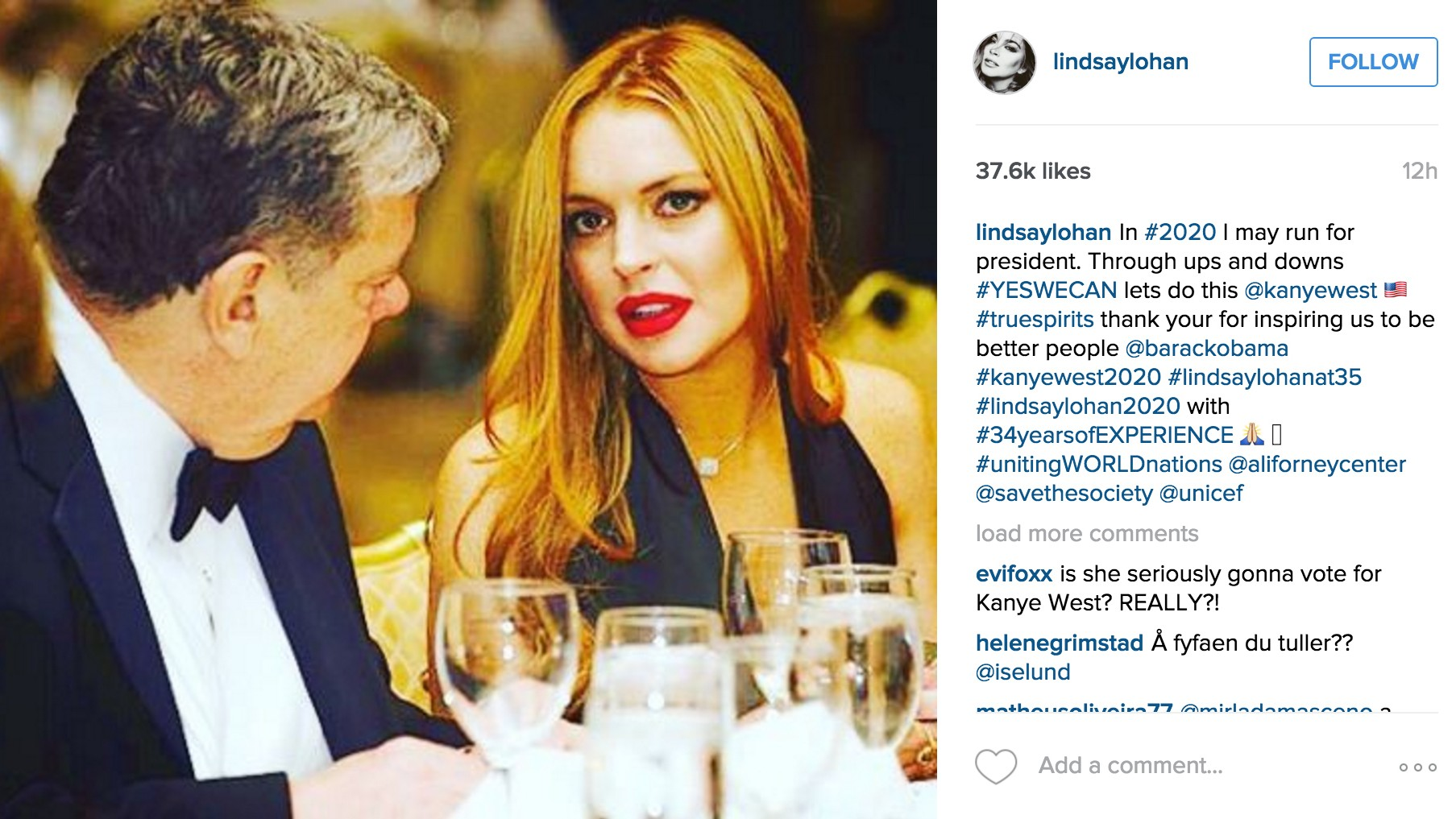 ​lindsay lohan might run for president