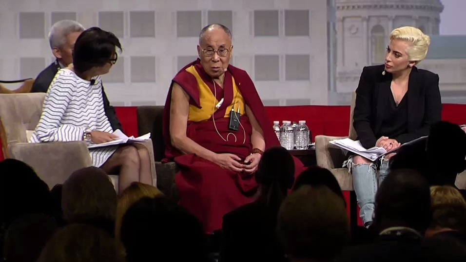 watch lady gaga interview the dalai lama