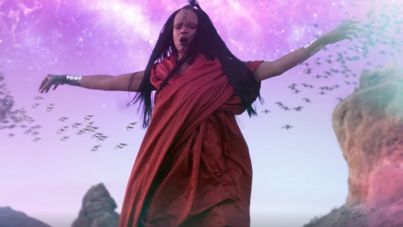 watch rihanna's out-of-this-world video for sledgehammer