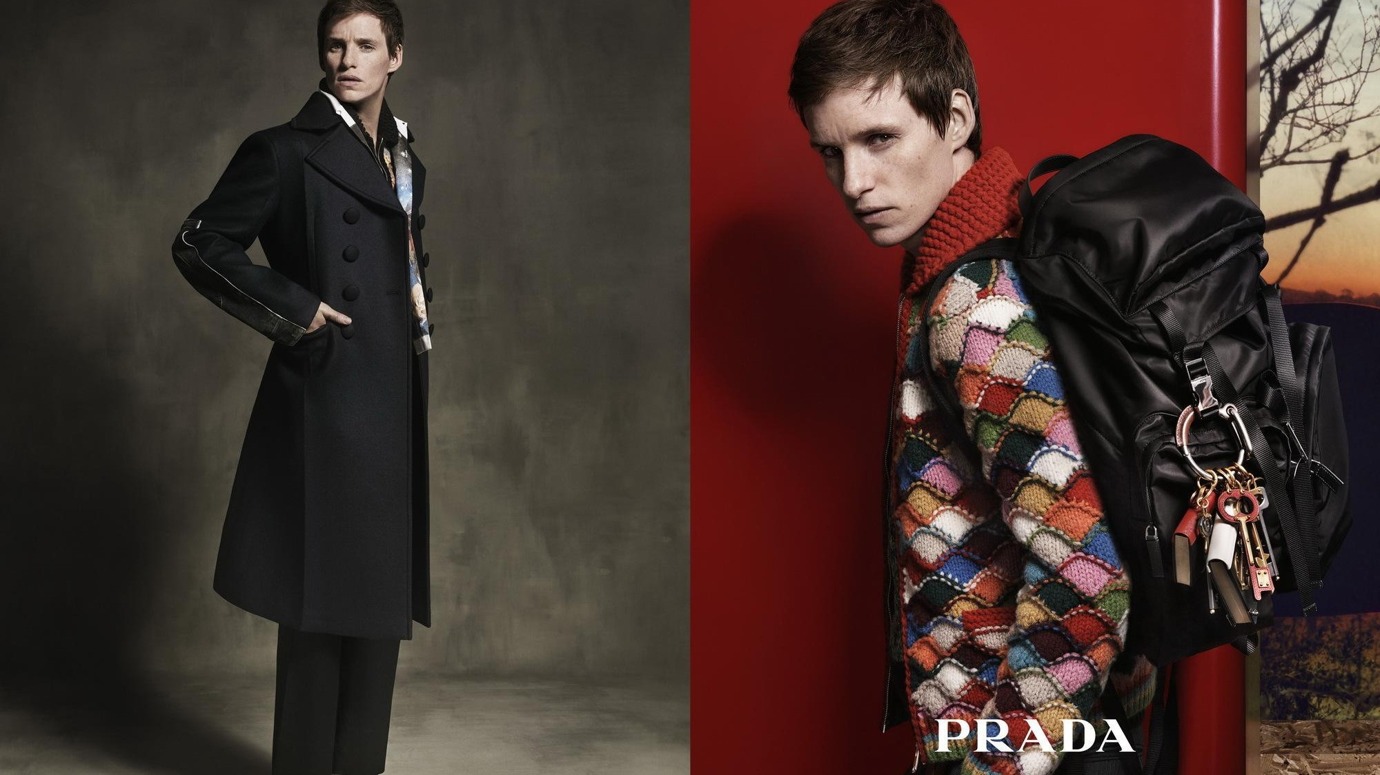 eddie redmayne is on a romantic detective mission for prada men's