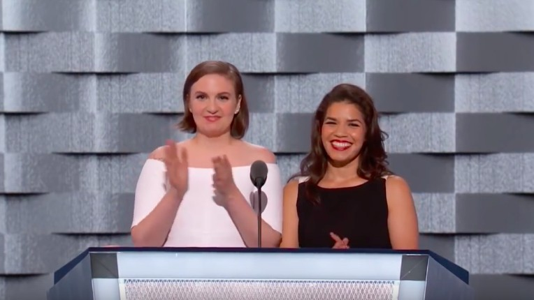 lena dunham and america ferrera's dnc address on trump is as funny as it is scary