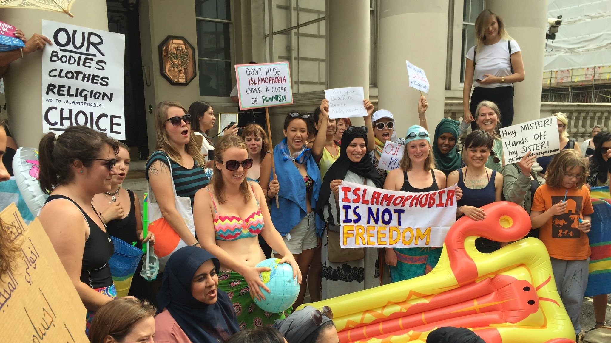 ​women stage burkini ban protest outside london's french embassy