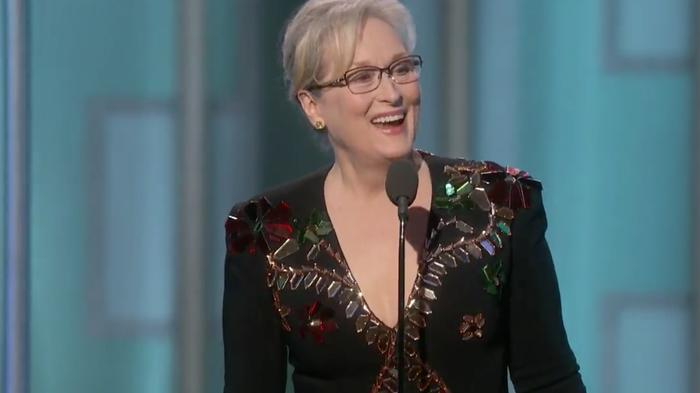 meryl streep stands up for the arts in golden globes speech