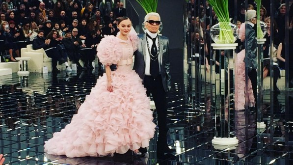 lily-rose depp closed chanel in a giant pink wedding gown