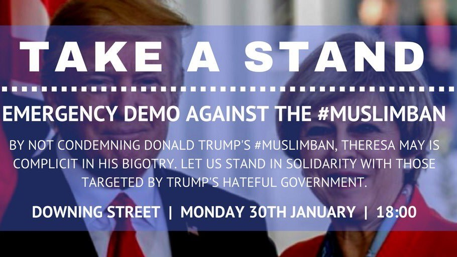 tonight: emergency protests against trump's muslim ban in london and across uk