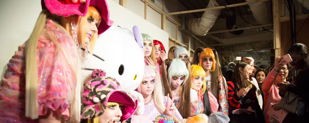 head backstage at ryan lo's hello kitty collaboration show