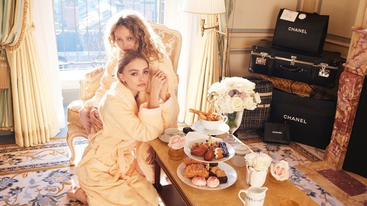 lily-rose depp and vanessa paradis pose together in aid of planned parenthood