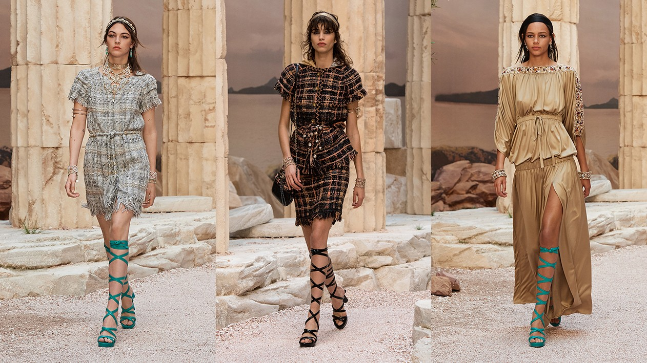 blast from the past: karl brings ancient greece to paris for chanel cruise 18