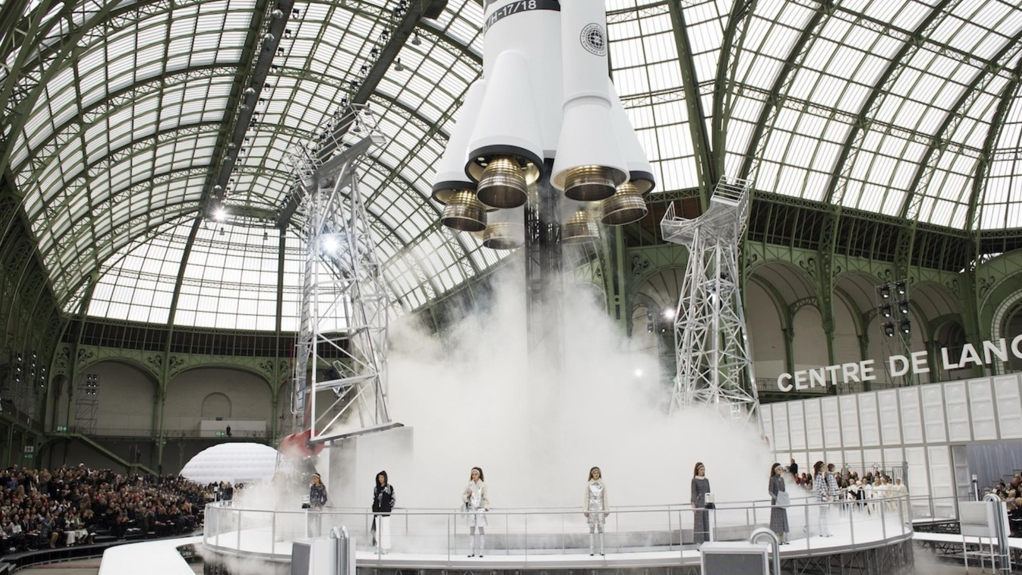 ​karl lagerfeld interviews his chanel muse, a french astronaut currently floating in space