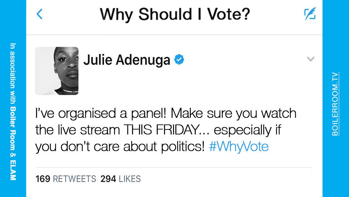 so, why should you vote on 8 june? julie adenuga and boiler room are here with the answers