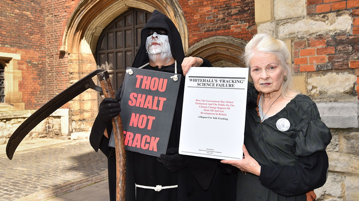 vivienne westwood and the grim reaper take on the archbishop of canterbury over fracking