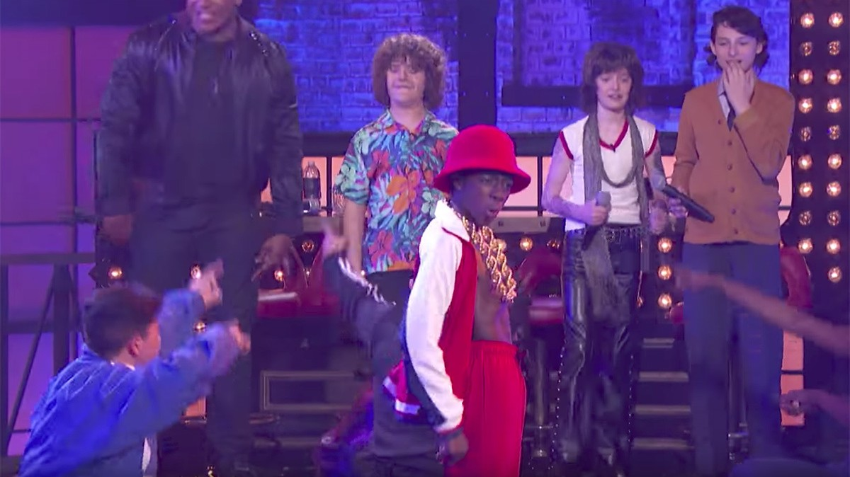 watch the stars of stranger things lip sync battle to weezer and ll cool j