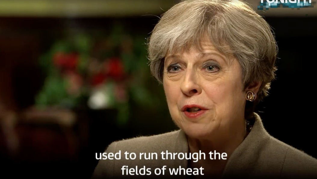 ​the naughtiest thing theresa may has ever done is run through a field of wheat