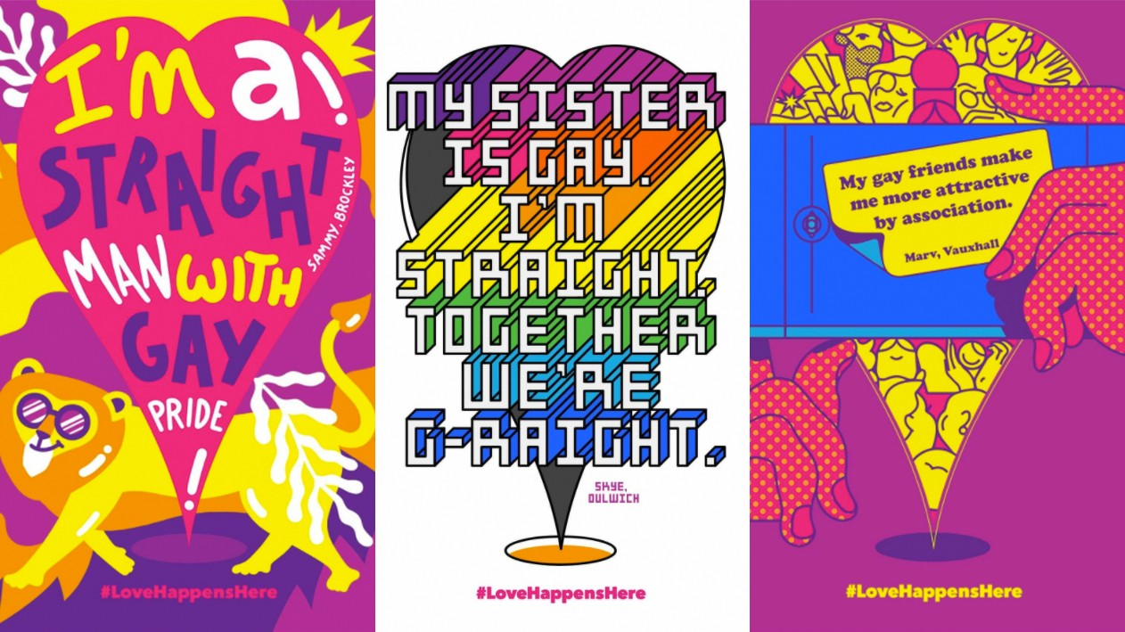 pride in london retract poster series focusing on straight people