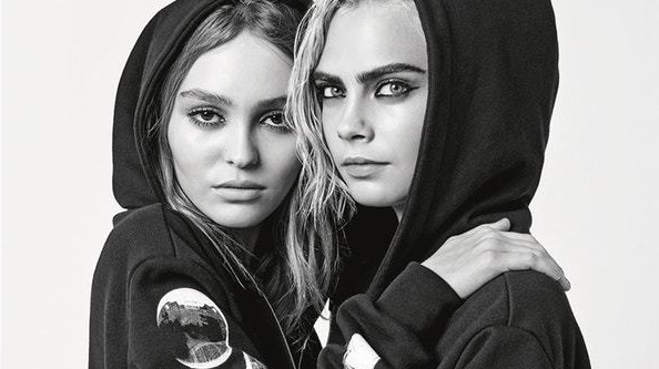 karl lagerfeld shoots lily-rose depp  and cara delevingne